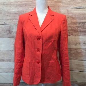 Lined Orange Irish Linen Blazer